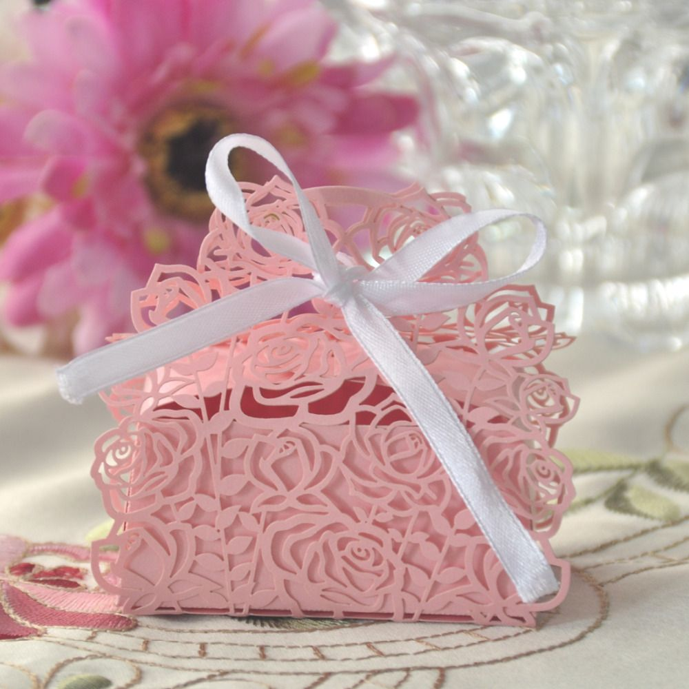 50pcs/lots Pink Rose Flower Laser Cutting Candy Box Event Favors ...