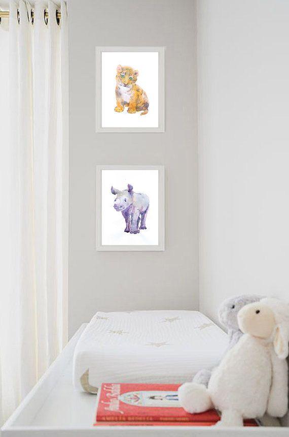 Baby Tiger Art Watercolor Painting Nursery Decor Print Wall Gift Ideas Animal Prints Watercolour