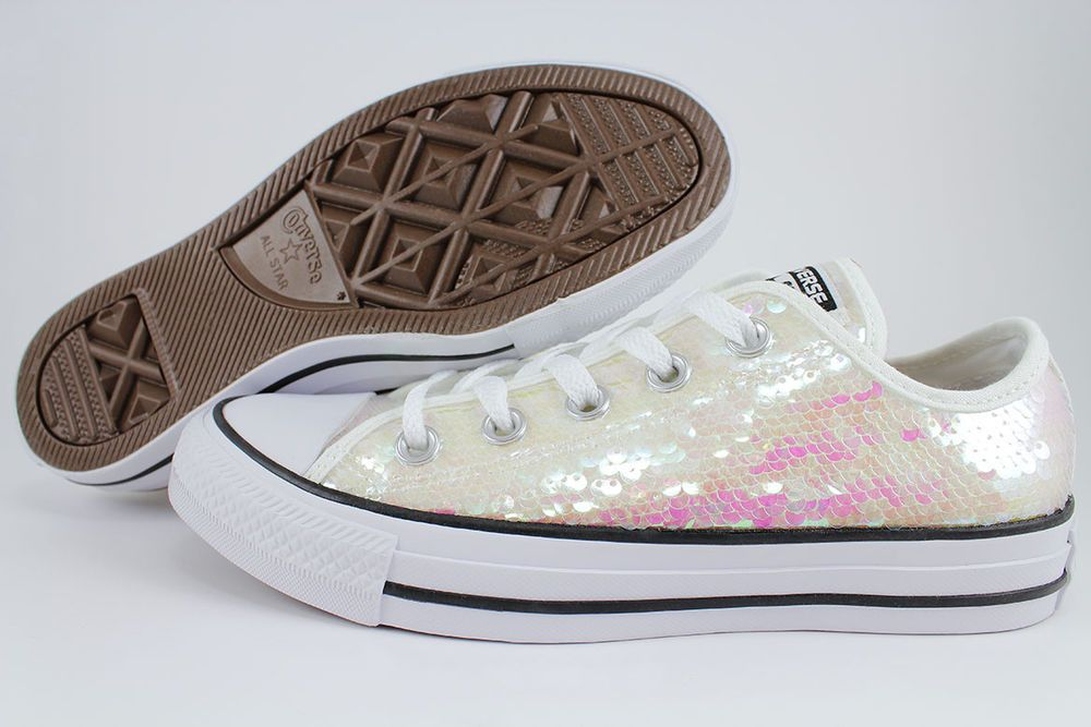 CONVERSE ALL STAR CHUCK TAYLOR IRIDESCENT SEQUIN OX WHITE PINK BLK GLITTER  WOMEN  Converse  FashionCasual 3233f864e