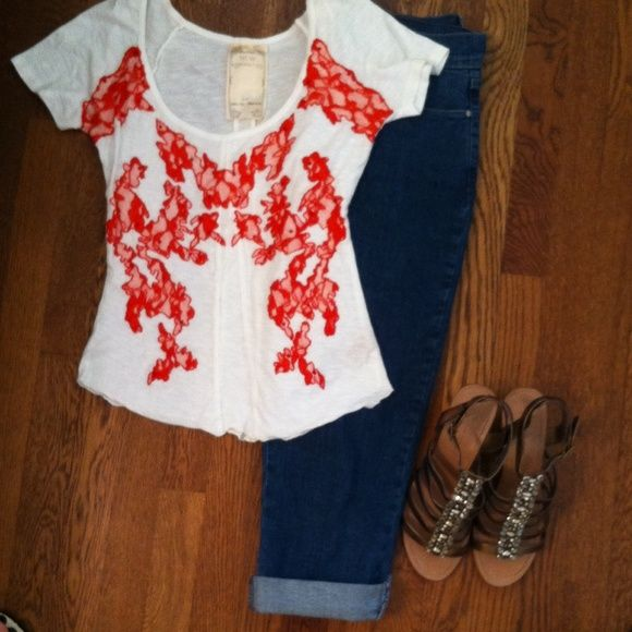 Free People Romantics Pretty Shirt with red lace. Cotten blend. Wash inside out on delicate cycle. Hang to dry. Price firm unless bundled. This top looks brand new. Free People Tops