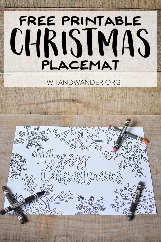 Free Printable Adult Coloring Page Christmas Placemat