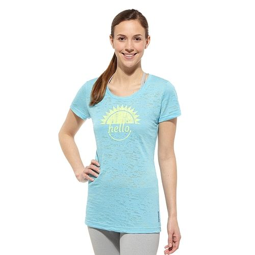 Reebok Women's Blue Blink Happy Burnout Tee Shirt in {productContextTitle} from {brandTitle} on shop.CatalogSpree.com, your personal digital mall.