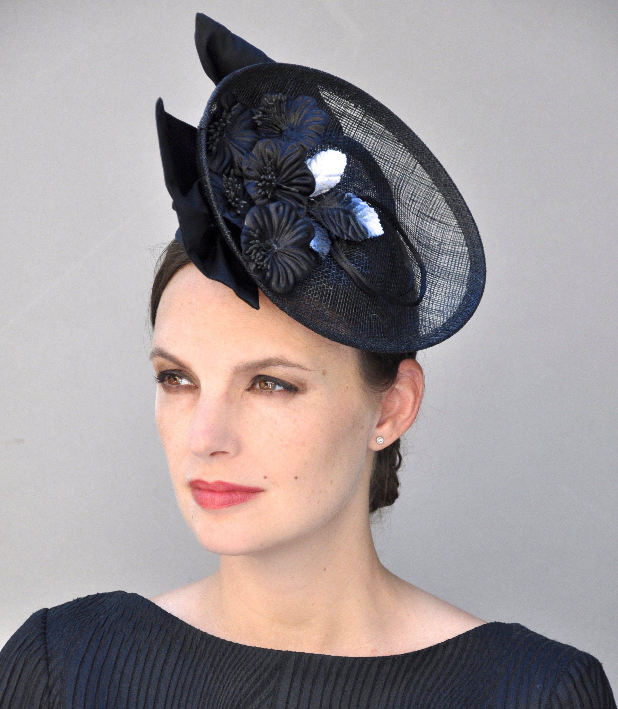 Fascinator Black Fuchsia Fascinator Feather Saucer Hat Formal Ladies Womens Disc