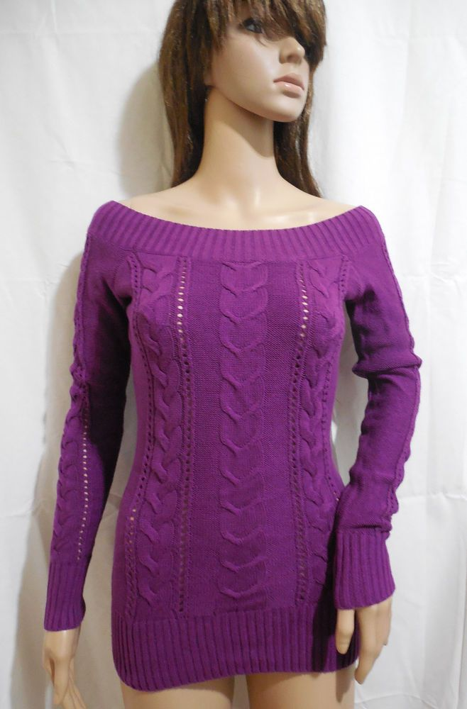 NEW Guess Purple Cable Knit Off-the-Shoulder Fitted Emelie Sweater Women's M