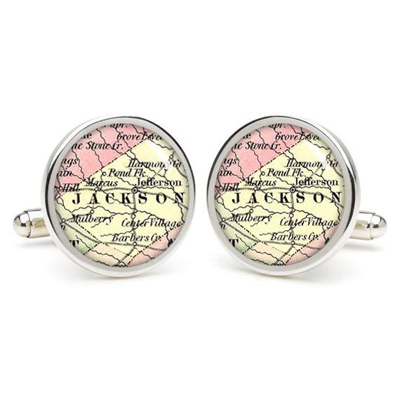 Jackson City Map Cufflinks Wedding Gift Ideas For By Etnecklace