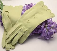 Green gloves on hyacinth