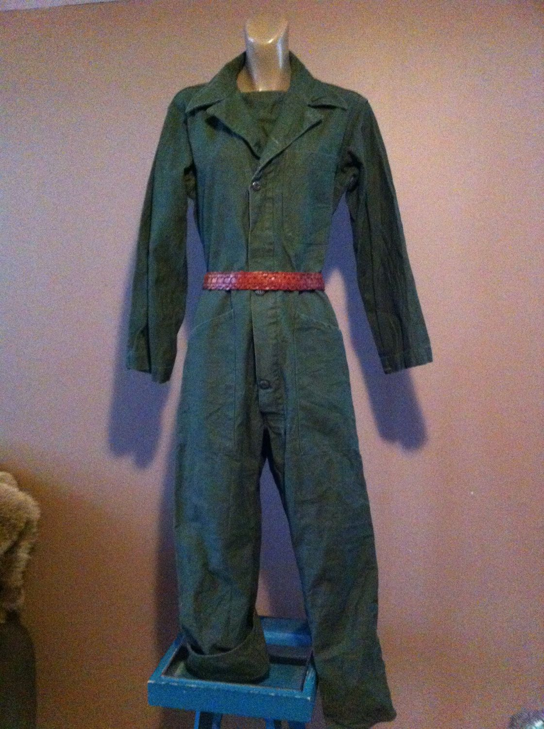 e79405519329 Vintage Military Jumpsuit overalls mechanic flight suit army green 70 s by  truepagevintage on Etsy