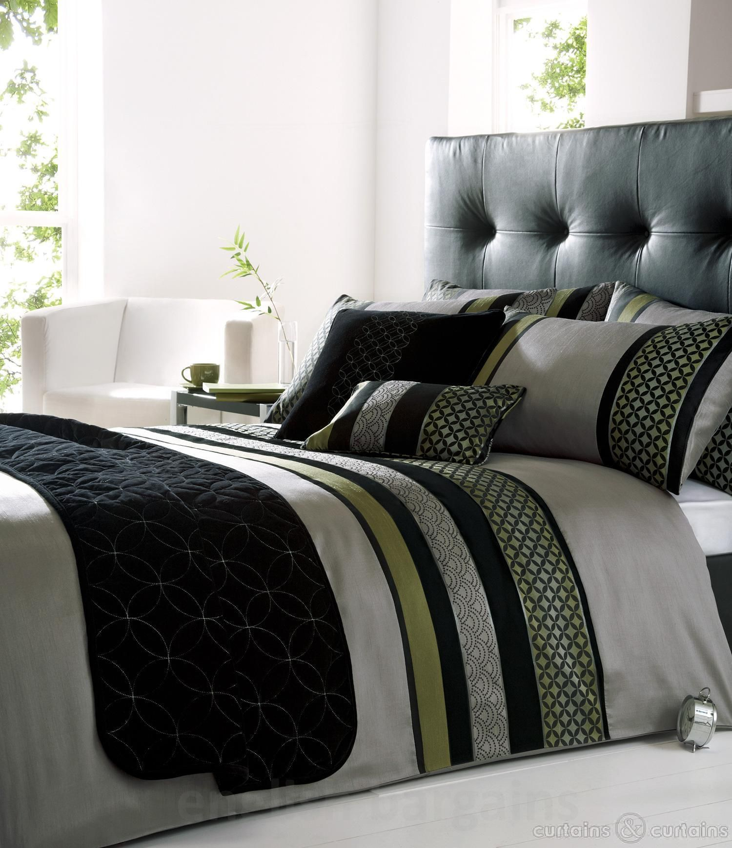 Black And Silver Bed Saturn Silver Black Green Embroidered Duvet Cover