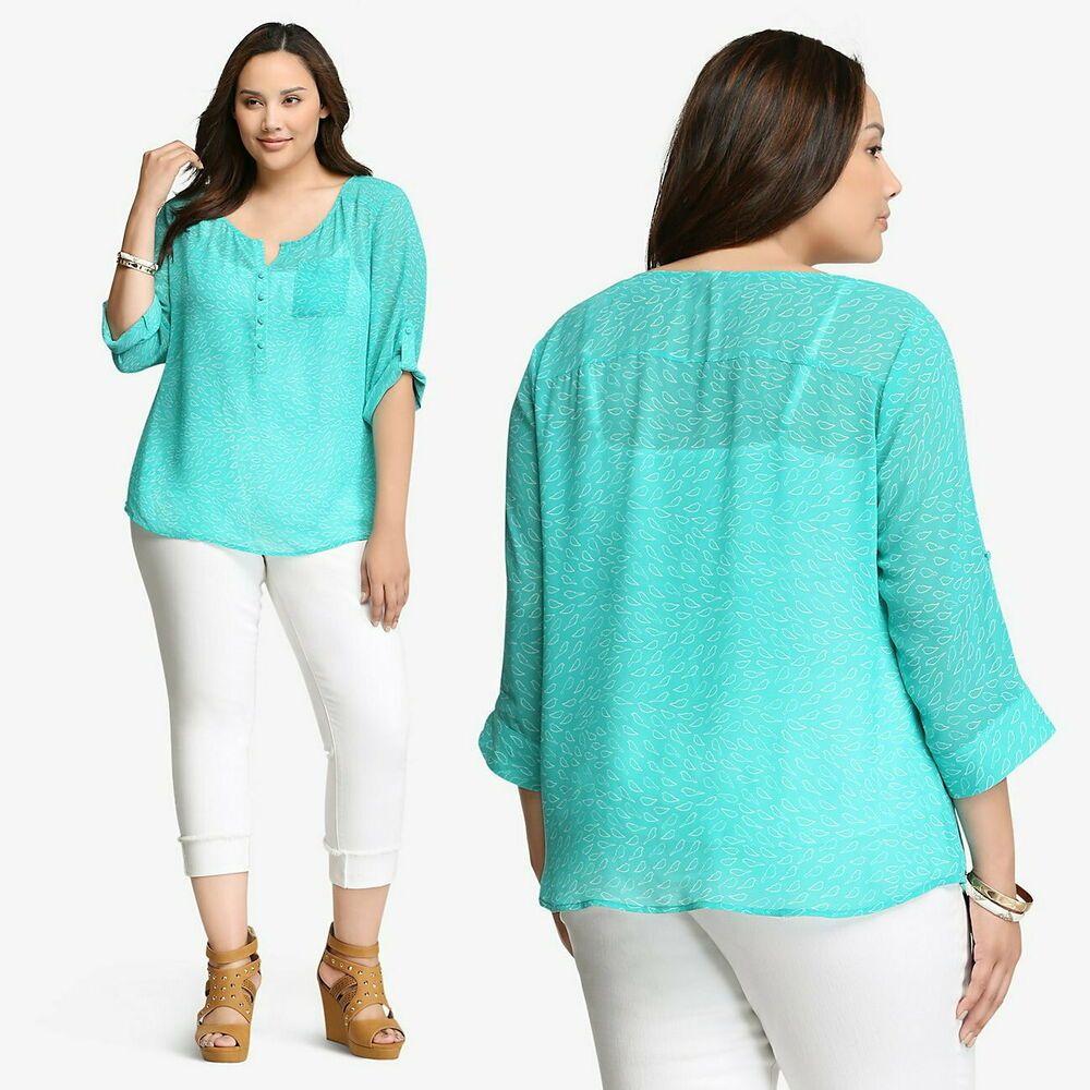 cdc665528b9 TORRID Bird Chiffon Blouse Aqua Teal   White Tab Sleeve Womens Plus Size 4