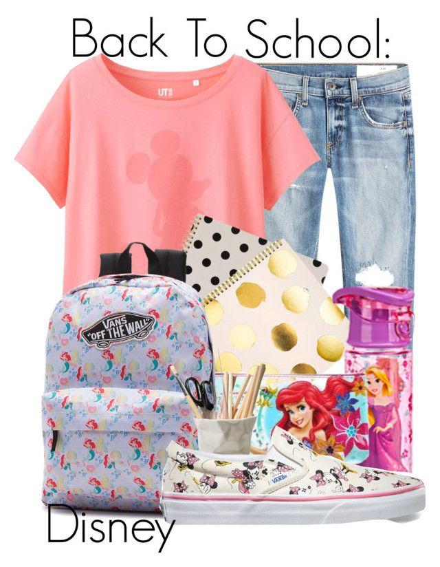 """Back To School: Disney"" by kaylenbluebird ❤ liked on Polyvore featuring rag & bone, Uniqlo, Kate Spade, Sugar Paper, Disney, ESSEY, BackToSchool, vans and disney"