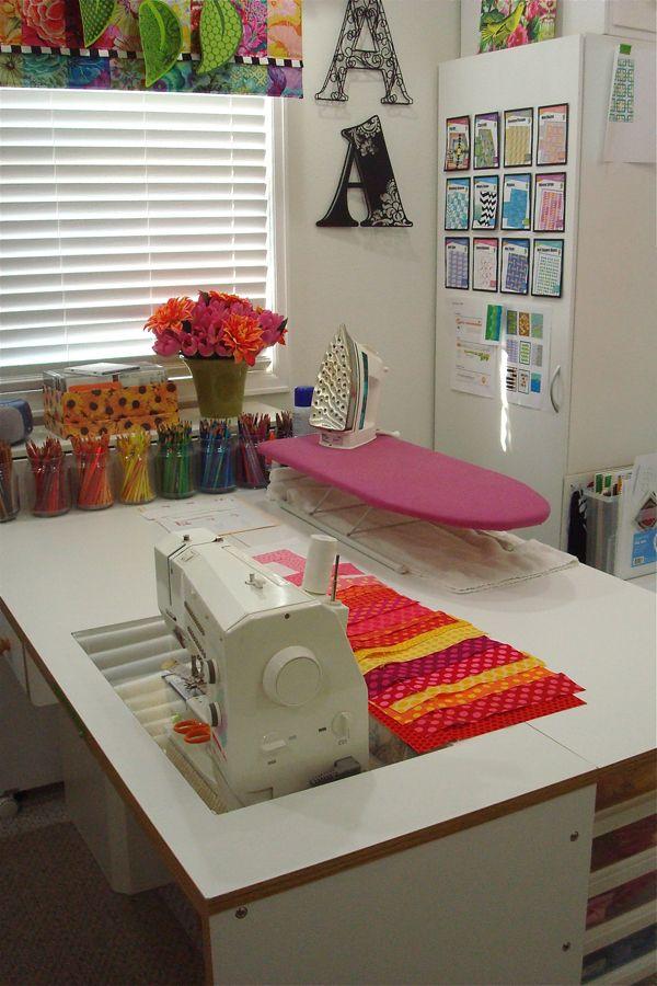 Una mesa de costura con varias zonas organizar cuarto - Mesas para costura ...