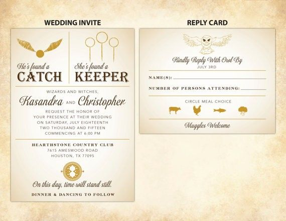 Harry Potter Wedding Invitations He S Found A Catch She S