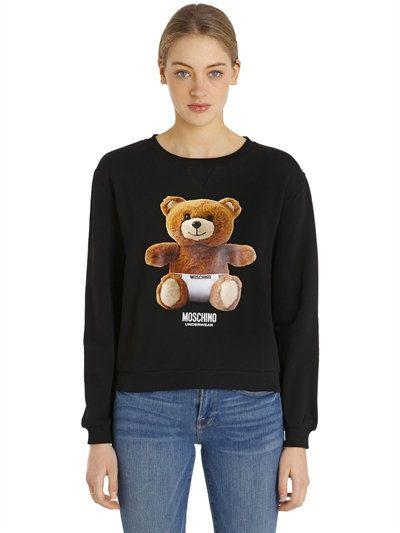 MOSCHINO UNDERWEAR TEDDY BEAR PRINT COTTON SWEATSHIRT d8c564a43