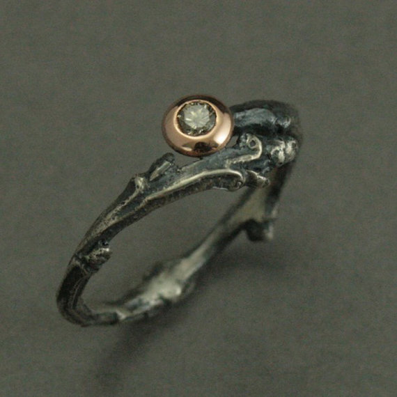 Heart Of The Forest Engagement Ring Sterling Silver Rose Gold Setting Champagne Diamond Fantasy Wedding Band Elvish