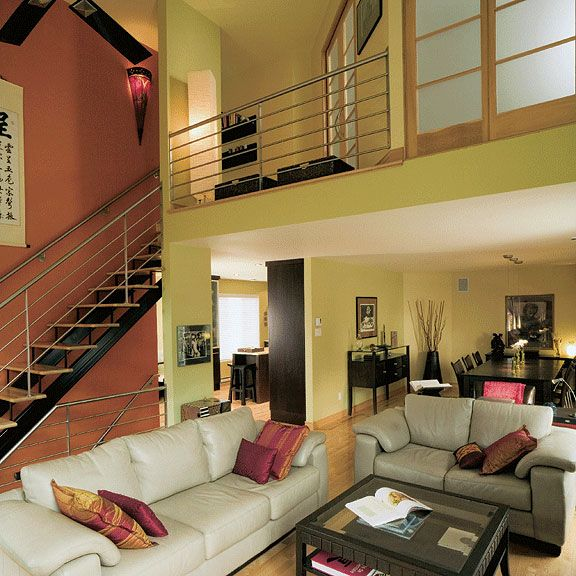 Vaulted Living Room Floor Plans: Open Floor Concept With Cathedral Ceiling & Mezzanine. See