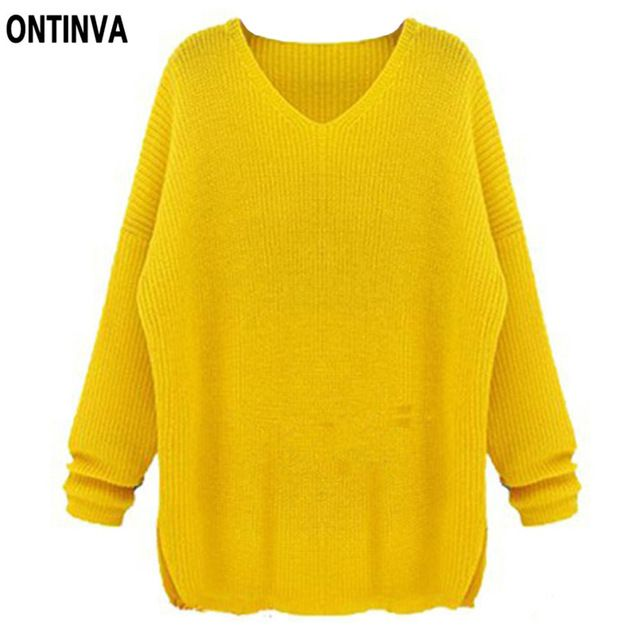 Oversized Yellow Crochet Sweater Women Navy Blue solid Color Pollover Casual Ladies Tops Female 5XL 4XL Big Size Woman Clothes