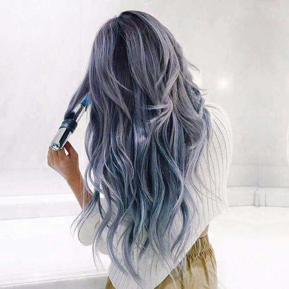 gray blue purple hair awesome