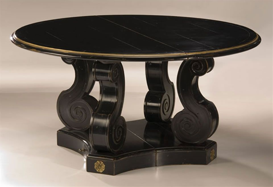 Exceptionnel Black Baroque Round Wooden Table Furniture Design By Moissonnier, Dallas