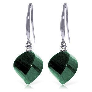 14K Solid White Gold Fish Hook Earrings with Diamonds & Emeralds - 4928-W