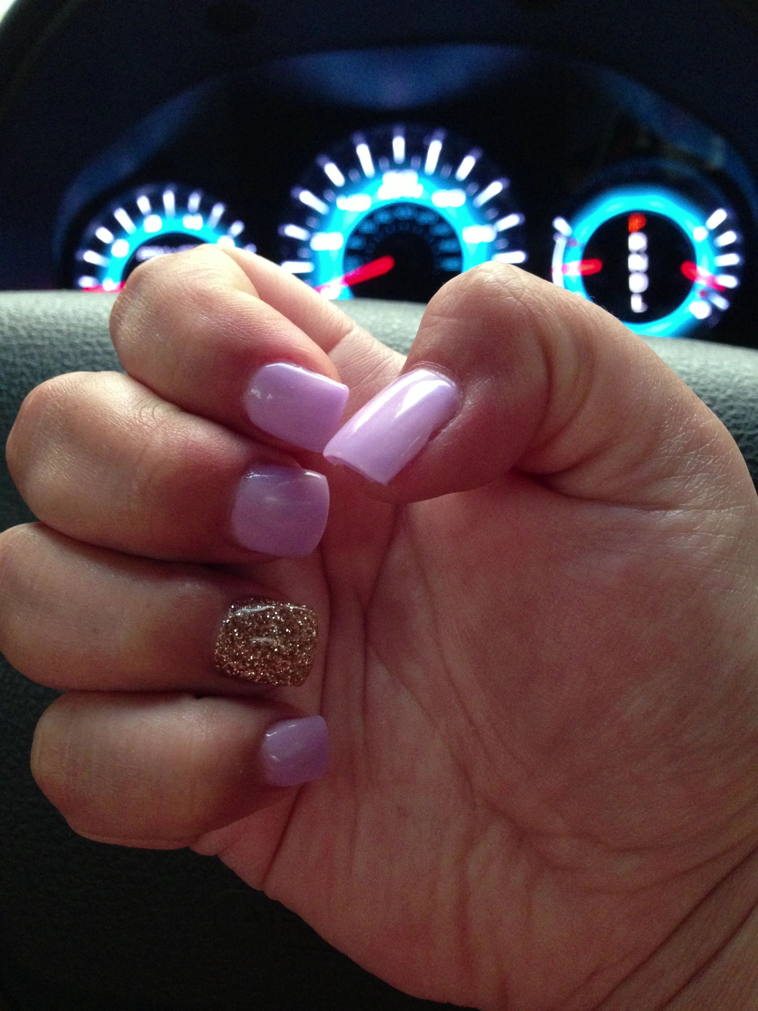 Pastel purple and gold glitter gel nails thanks to Sara at Midtown ...