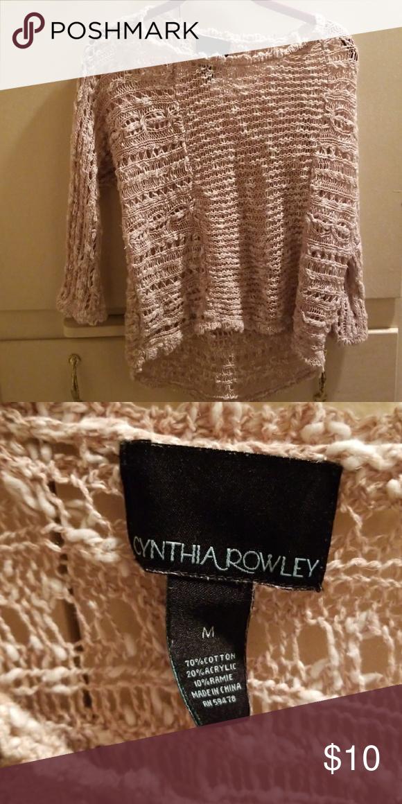 d9fa874f1e50e0 Cute, hi-lo sweater Blush pink, open knit Cynthia Rowley Sweaters Crew &  Scoop Necks