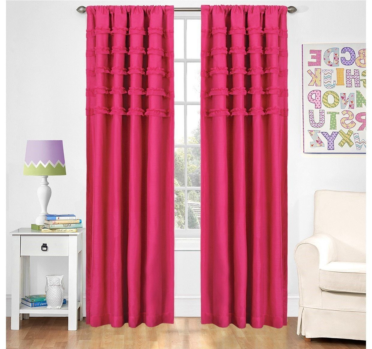 Girls Raspberry Pink Ruffle Batiste Window Curtain 63 Inch Solid Pattern Single Panel Hot Colour Kids Themed Teen Blackout Ds Polyester