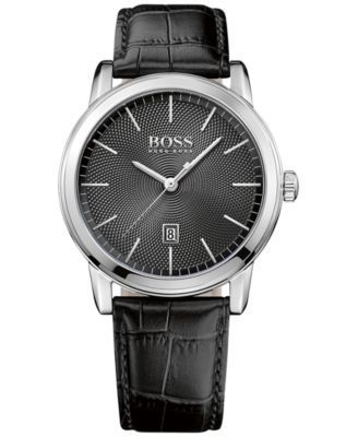 BOSS Hugo Boss Men's Classic Black Leather Strap Watch 40mm 1513397