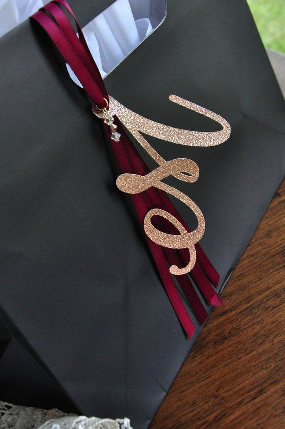 c595061b8a Bachelorette Gift Bags. Monogram Gift Bag with Swarovski Crystals and Ribbon  Tassel. Party Gift Bags
