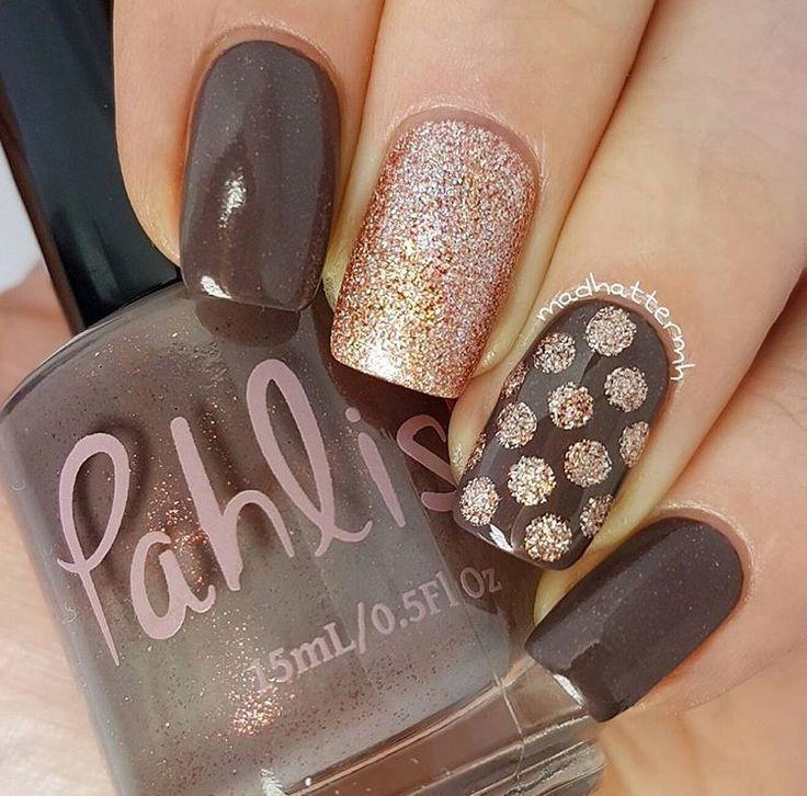 Neutral and Glitter Nail Art | Polka Dot Nail Art | Manicure ...