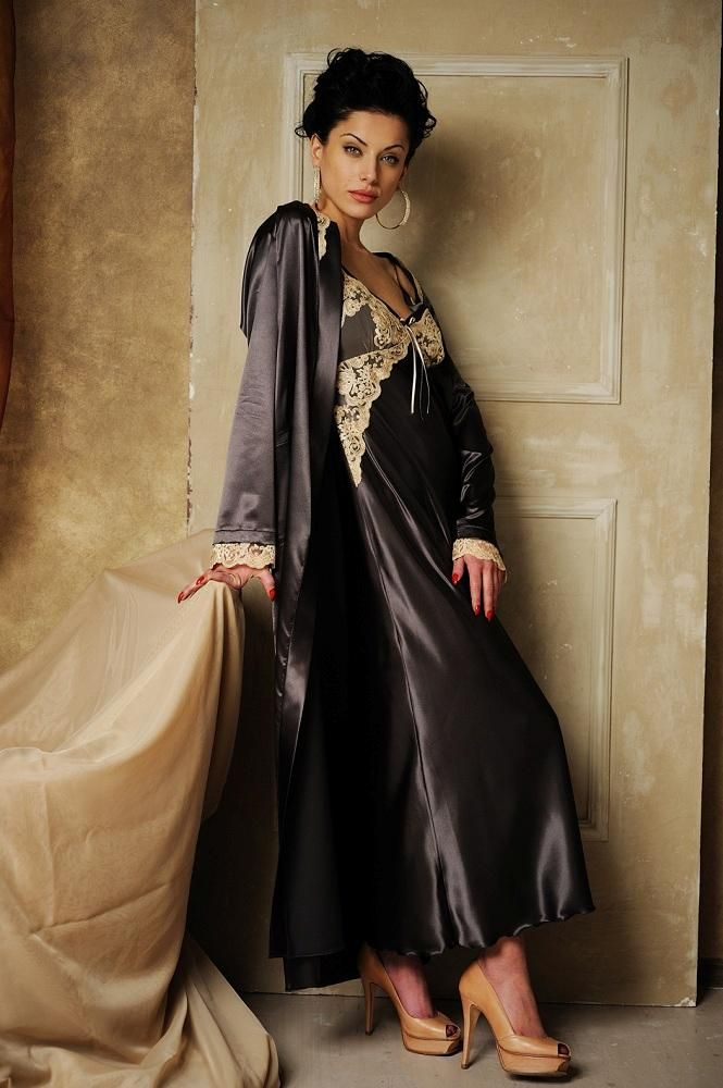 Black Satin Nightgown Black Satin Robe and Brown High Heels  ade542294