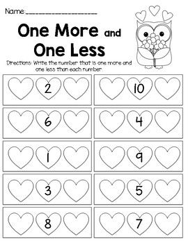 One More and One Less   Kindergarten math worksheets, Free ...