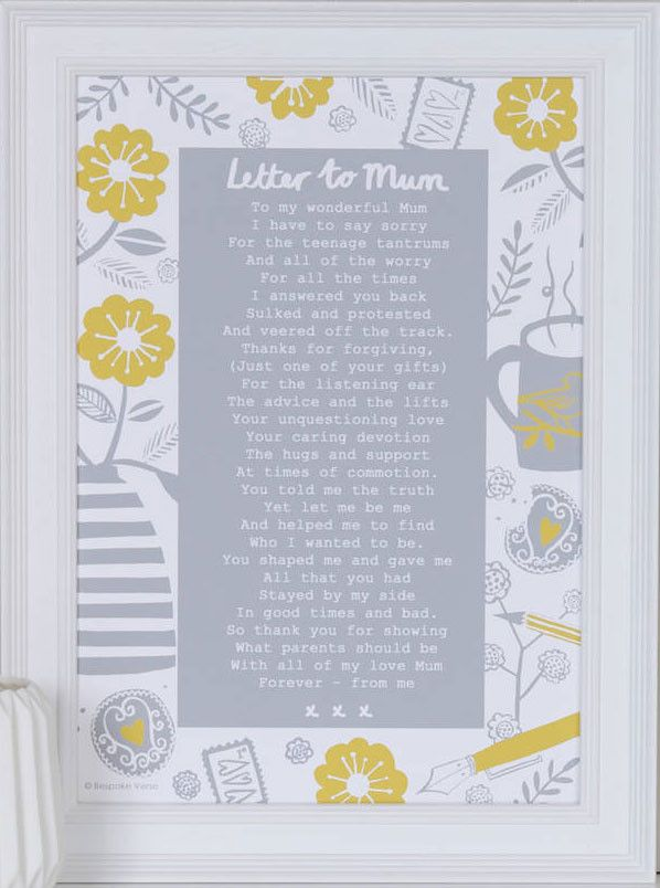 A Letter To Mum' Poem Print from www indigobluetrading com  A