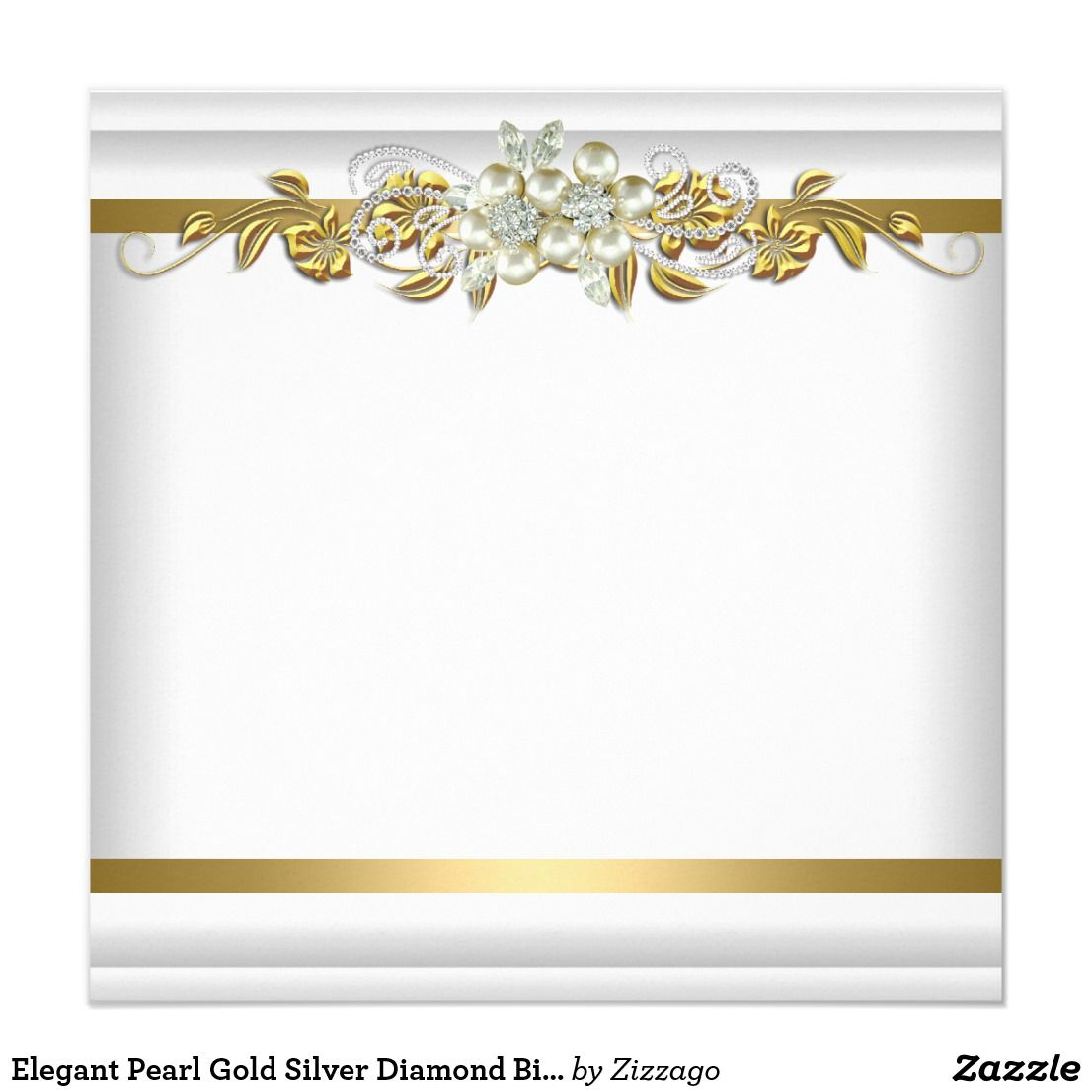 Elegant Pearl Gold Silver Diamond Birthday Party 2 Invitation