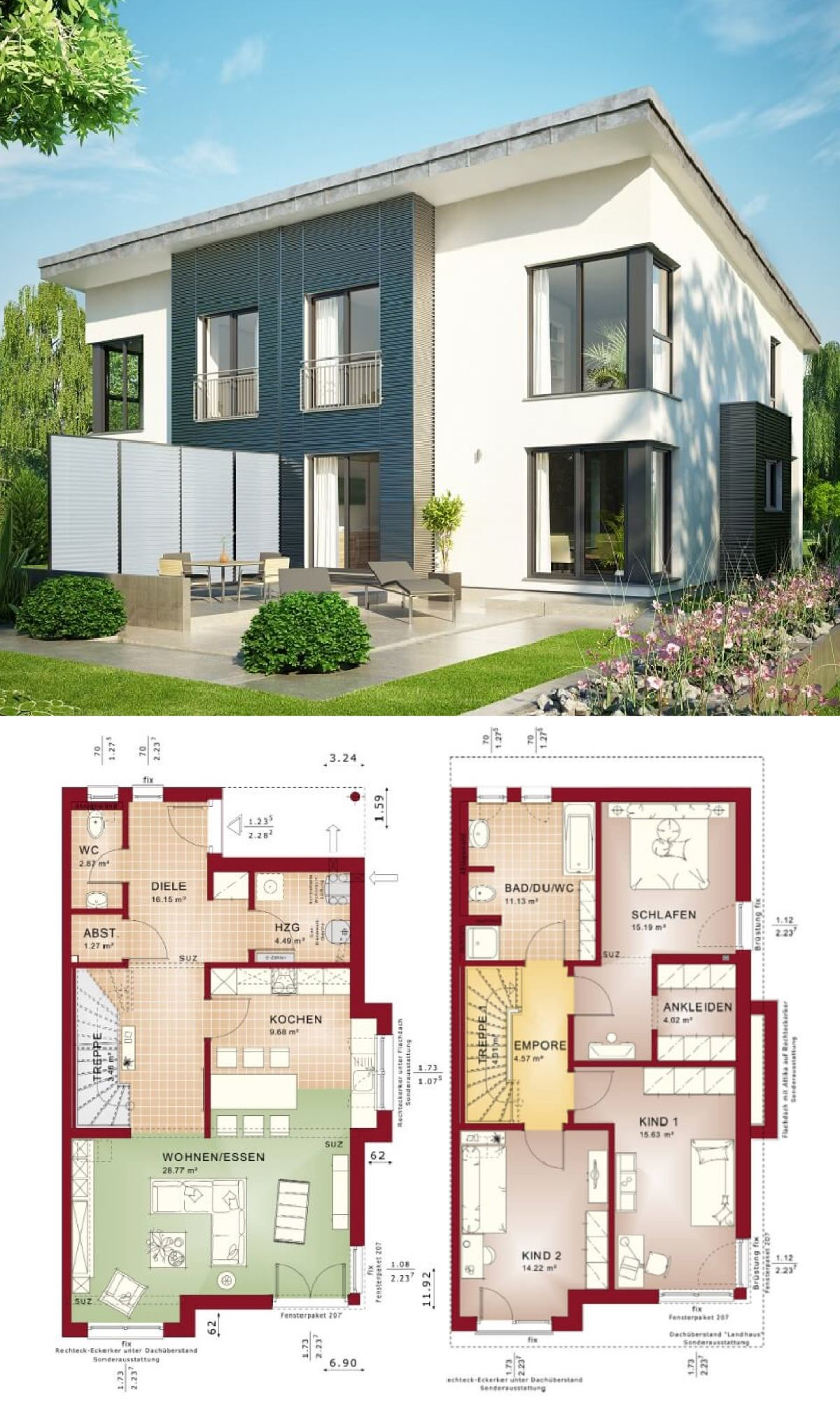 Doppelhaushälfte mit Pultdach Haus Celebration 131 V5 L