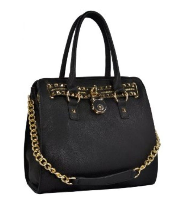 $39.99 HALEY Classic Gold Studded Structured Satchel Purse Style Tote Handbag