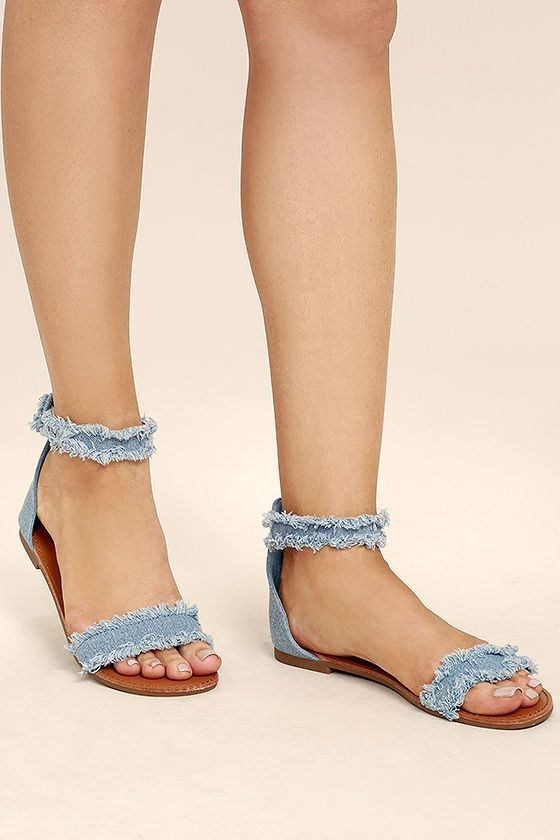 524c3515b153a4 Take the Antares Blue Denim Flat Sandals out for a stroll on a sunny day!  Frayed blue denim forms a wide toe band