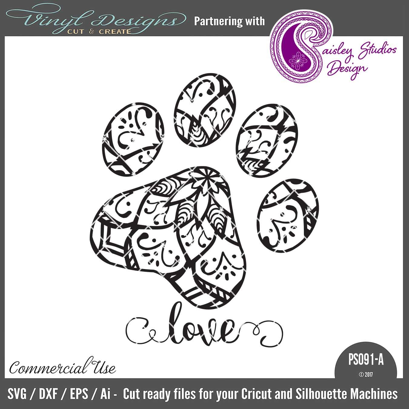 PS091A Cat Paw Print Mandala. Sold By Paisley Studios DesignSmall Business  Commercial UseAvailable In SVG