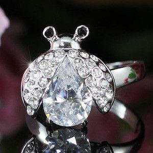 White Gold Silver Austrian Crystal Ladybug Ring