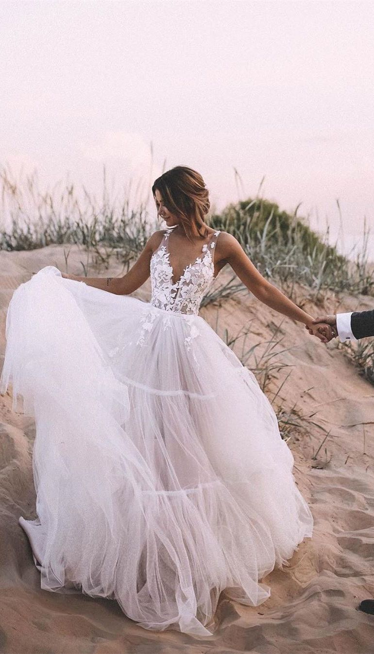 Unique Appliqued A Line Tulle Wedding Dresses With Chapel Train Wd264 In 2020 Outdoor Wedding Dress Ball Gowns Wedding Tulle Skirt Wedding Dress