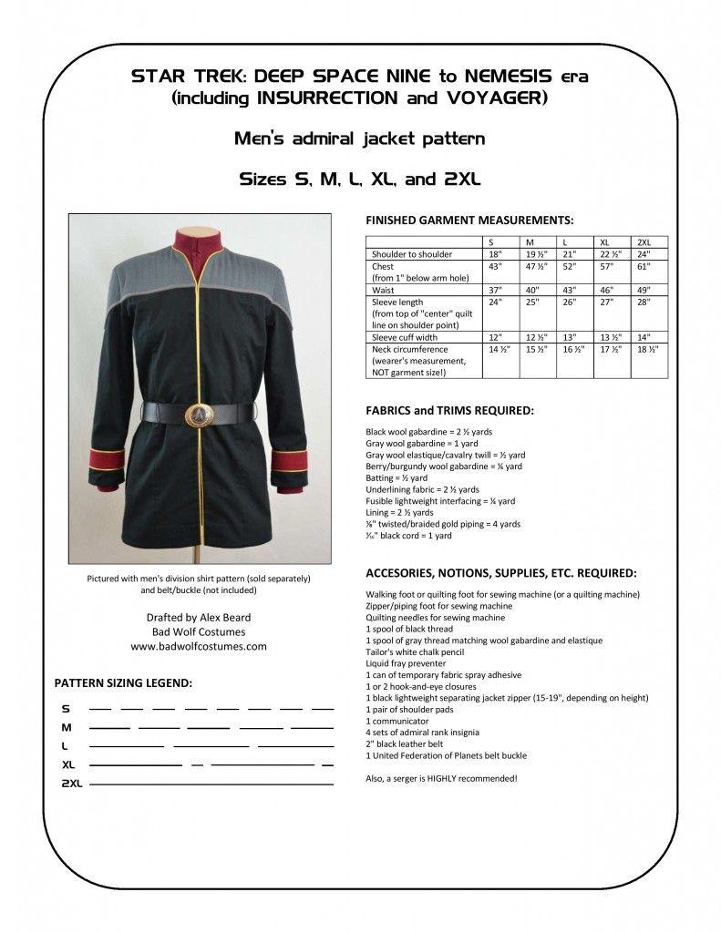 Star Trek: DS9/NEM Men\'s Admiral Jacket Sewing Pattern   Star Trek ...