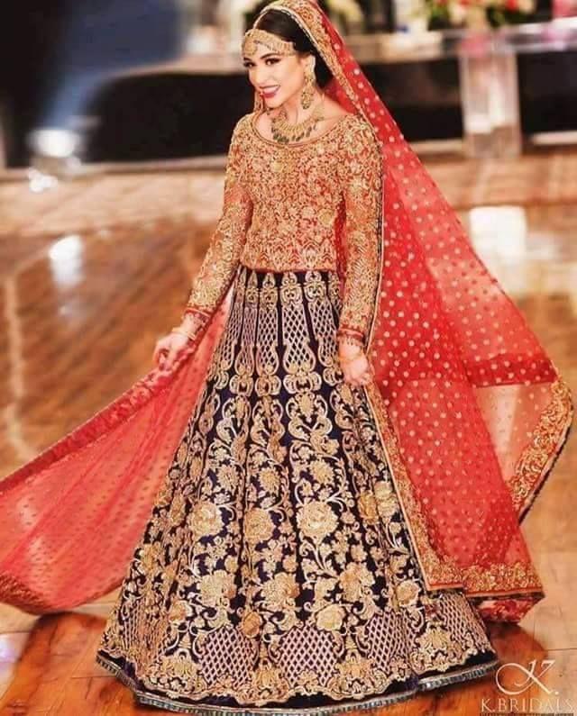 Indian Bride Awesome Blue Orange Wedding Dress Bridal