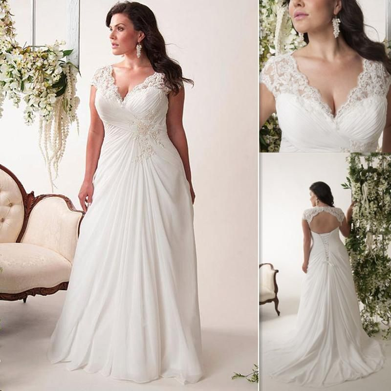 Plus Size Wedding Dresses Cheap V Neck Pleats Chiffon Long Bridal ...