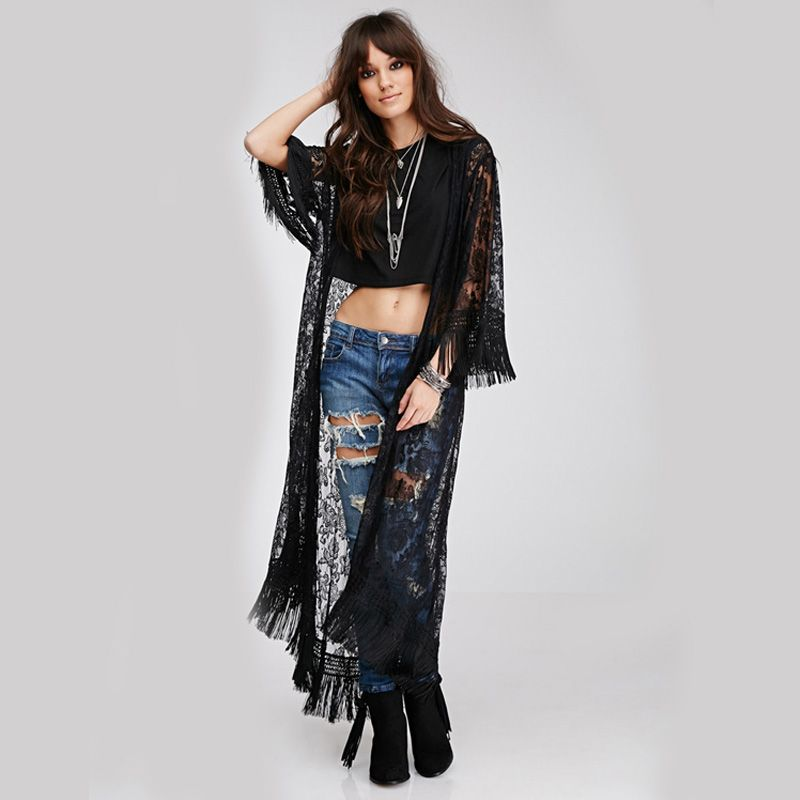 New Black Women Lace Kimono Style Long Sleeve Cardigan Elegant Women Clothing Hollow Out Tassel Ladies Long Blouse alishoppbrasil