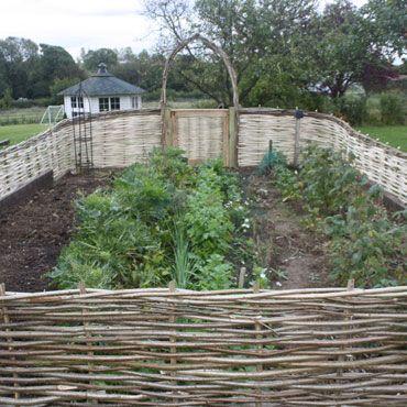 Amazing Woven Wood Fence Around Vegetable Garden