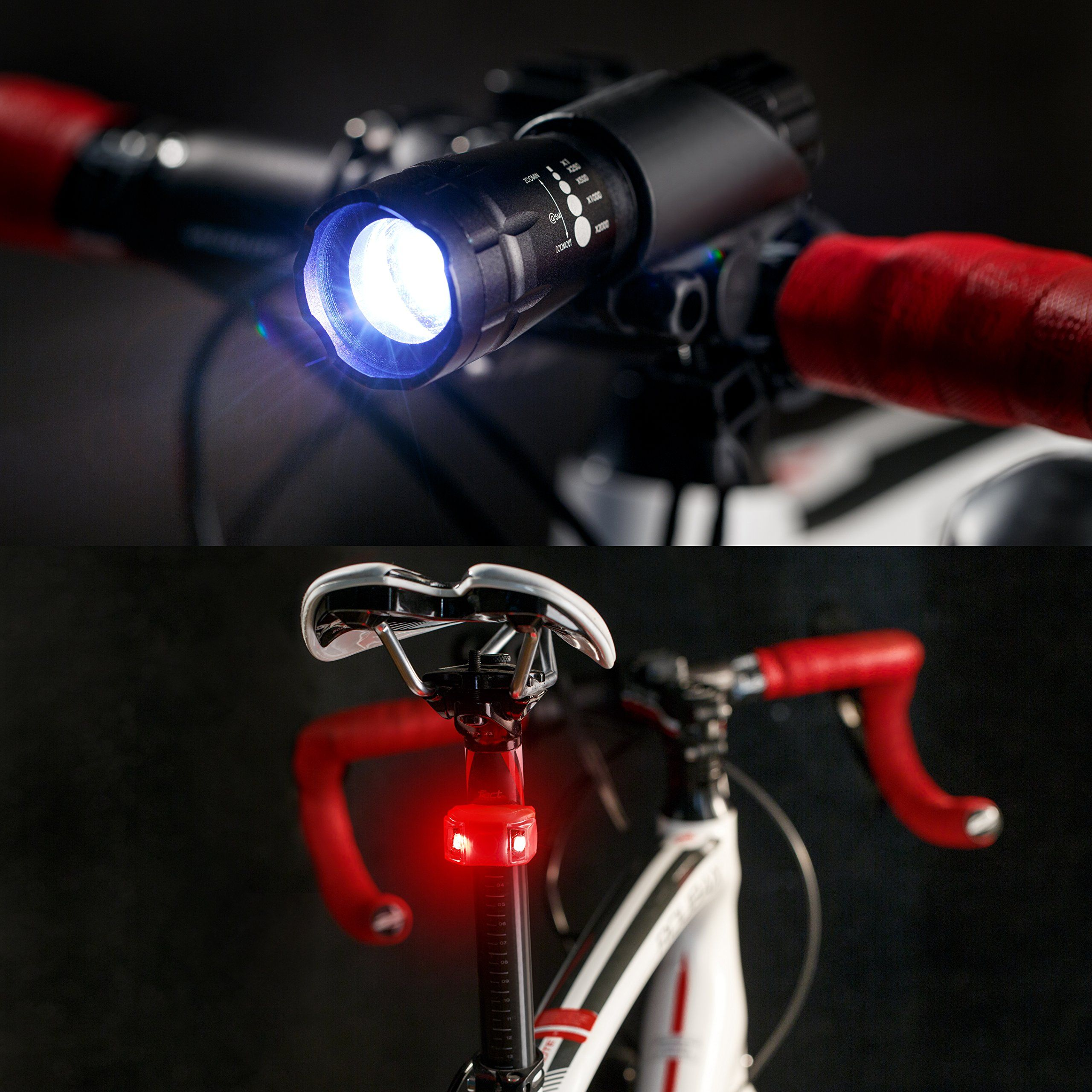3Pack LED Bicycle Bike Cycling Front Rear Tail Light USB Rechargeable 6 Modes US