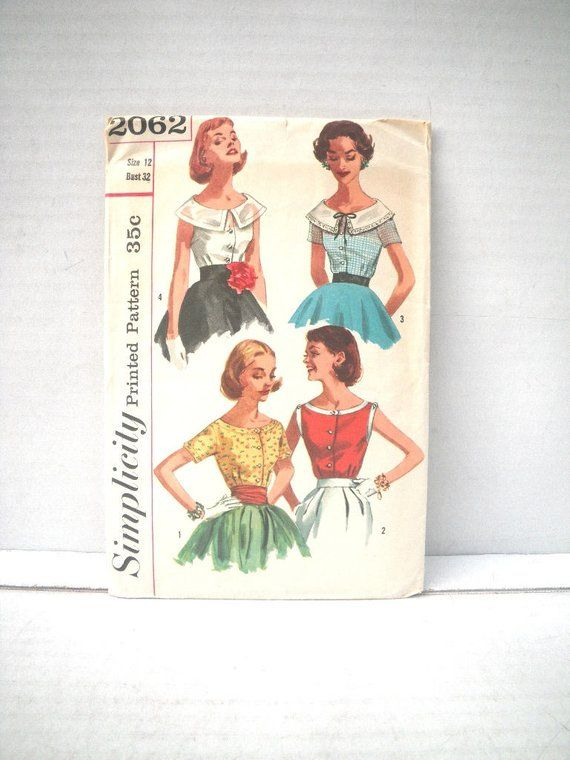 e18bcc1895fe78 1950s Button Front Fitted Blouse Pattern - Simplicity 2062 - Bust 32 Waist  25