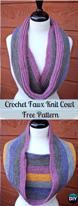 Reversible Crochet Faux Knit Cowl Free Pattern- Crochet Infinity ...