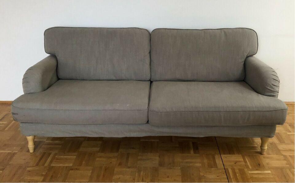 Ikea 3er Sofa Stocksund In Hellgrau Mit Hellbraunen Fussen In