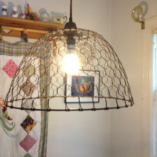 Cute Chicken Wire Light In Rooster Themed Kitchen