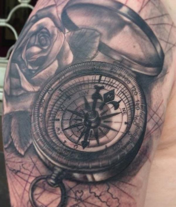 100 Awesome Compass Tattoo Designs | Compass rose tattoo, Compass ...